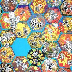 Busy #beehive. #bees #artclass #childrensart #arteducation #artproject