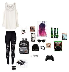 """""""somewhat gamer girl❤"""" by pandabearcc ❤ liked on Polyvore featuring RVCA, Converse, Vans, BlackMoon, Ray-Ban, Microsoft and LULUS"""