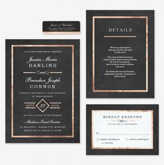 Modern Art Deco Rose Gold & Black Wedding Invitations from Colleen Michele <3