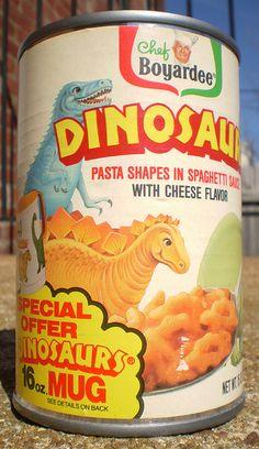 food 1989 Chef Boyardee Dinosaurs Pasta C - Retro Recipes, Vintage Recipes, My Childhood Memories, Childhood Toys, Discontinued Food, Kids Pasta, Chef Boyardee, Pasta Shapes, Vintage Packaging