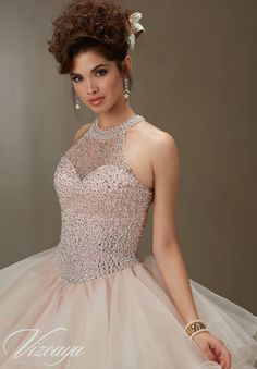 Matching Stole included. Colors available: Champagne/Blush, Aqua/Champagne, Lilac/Champagne and White. Quinceanera and 15 Dresses by Designer Madeline Gardner.