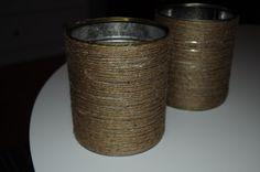Tin can flower pot