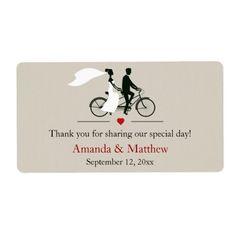 Tandem Bicycle Wedding Favor Labels