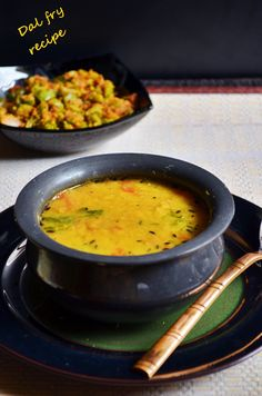 Dal fry recipe with step by step photos. Restaurant style dal fry recipe is one of the most sought after Punjabi side dish recipes. I have eaten dal fry in restaurants only very few times.I feel ma… Indian Beef Recipes, Goan Recipes, Veg Recipes, Curry Recipes, Side Dish Recipes, Vegetarian Recipes, Cooking Recipes, Healthy Recipes, Vegan Soups