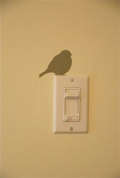 bird on a light switch, cut a robin silhouette with a cricut, use as stencil Bird Silhouette, Ideias Diy, Little Girl Rooms, Home Projects, Vinyl Projects, Decoration, Stencils, Kids Room, Bedroom Kids