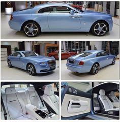 Rolls Royce Wraith- Lazuli Blue exterior. Arctic white interior.