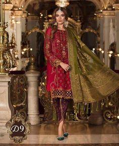 Maria B Mbroidered Wedding Collection 2018 - Nauratan- Party wear, Formal Pakistan, Indian - Made to order - Handwork Jobs Pakistani Dress Design, Pakistani Outfits, Velvet Pakistani Dress, Indian Outfits, Designer Wear, Designer Dresses, Designer Clothing, Latest Bridal Lehenga, Pakistani Bridal