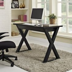 Black Desk, Black Glass Computer Desk, Wood Computer Desk, Black Table, Black Wood, Plywood Furniture, Plywood Cabinets, Black Furniture, French Furniture