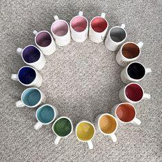 Rae Dunn rainbow mugs