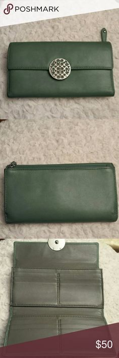 Coach Alexandra Leather Envelope Wallet Rare Coach Alexandra Pretty Green Leather Wallet with Signature Clasp,  A lot of slots,  Zippered back pocket,  2 pen marks inside see puc,  some wear on edges see pic still really nice Coach  Bags Wallets