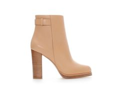 nude ankle boot with stacked heel