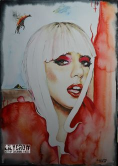 Lady Gaga With the Burning Giraffe by Susanna Varis water color 2012