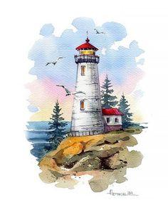 Watercolor Paintings For Beginners, Watercolor Art Lessons, Watercolor Landscape Paintings, Watercolor Canvas, Watercolor Artists, Watercolor Drawing, Seascape Paintings, Watercolor Illustration, Painting Illustrations