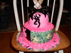 Camo browning buck cake - This is a vanilla cake with buttercream icing, marshmallow fondant, edible printed paper and handpainted buck symbol. 100% edible! Sweet 16 cake! Have to make pink blue or green!