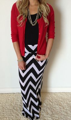 Chevron Maxi Skirt is a classic must-have! Goes great with your favorite colored cardigan. White or taupe!