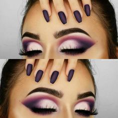 Purple pink white eyeshadow. Gorg.