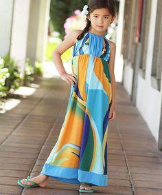 This Blue & Orange Abstract Halter Maxi Dress - Girls is perfect! #zulilyfinds