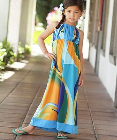 Look what I found on #zulily! Blue & Orange Abstract Halter Maxi Dress - Girls by Me & Ko #zulilyfinds