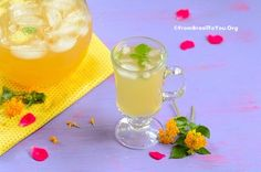 Lately I have been trying to cool off the warm late spring days by drinking lots of water and healthy iced beverages.  One of my definite favorites is Homemade Pineapple-Mint Iced Tea. Living i