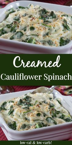 Our Creamed Cauliflower Spinach is perfectly creamy and has great flavor. Its perfect for your holiday table or year-round dinner spread! Low Carb Side Dishes, Side Dish Recipes, Vegetable Recipes, Low Carb Recipes, Diet Recipes, Vegetarian Recipes, Cooking Recipes, Healthy Recipes, Diabetic Recipes For Dinner