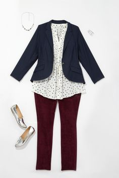 Plus Size Fashion: Meeting with your team? Reach for a blazer and polka dots.