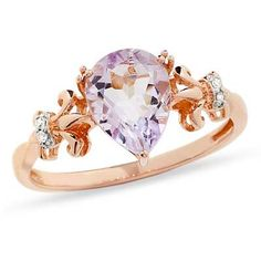 Pear-Shaped Rose de France Amethyst and Diamond Accent Ring in 10K Rose Gold. with a different stone