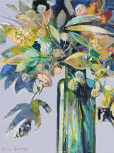AGLOW 4 / / @ the atelier gallery Erin Gregory Patterned background and painted background + florals over patterned background. Abstract Flowers, Vase Of Flowers Painting, Arte Floral, Fine Art Gallery, Botanical Art, Painting & Drawing, Cave Painting, Knife Painting, Watercolor Painting