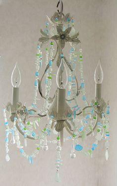 Sea Glass Lighting Fixture Chandelier Beach Cottage Shabby