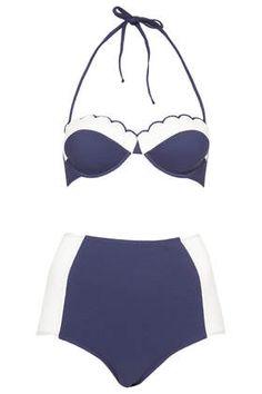 Navy Scallop High Waisted Bikini - Top Shop