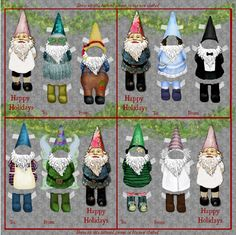 Reusable Gift Tags - a tag that is also a toy!  Dress Me Gnomes The Collection - gnomes, toys, accessories, and a house.  This season premieres a 'box' house to hold your gnomes.