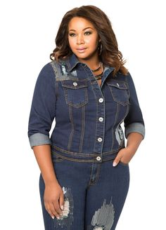 f97e82b143746 Destructed Sequin Denim Jacket Destructed Sequin Denim Jacket Fashionable Plus  Size Clothing