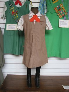 Brownie and Junior Girl Scout uniforms from the 1970s. I wanted to be a Brownie so badly, but boys weren't allowed. I would have been a great Brownie.