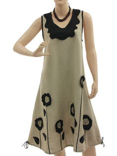 Fab linen dress with sunflowers in 2 ways to wear, nature black - Artikeldetailansicht - CLASSYDRESS Lagenlook Art to Wear Women's Clothing