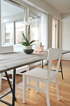 Mix IKEA legs, inexpensive pine boards stained gray