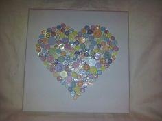 Pastel button canvas heart