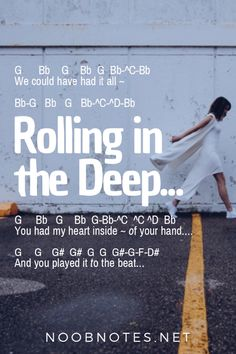 music notes for newbies: Rolling in the Deep – Adele. Play popular songs and traditional music with note letters for easy fun beginner instrument practice - great for flute, piccolo, recorder, piano and Keyboard Sheet Music, Piano Sheet Music Letters, Flute Sheet Music, Piano Music Notes, Music Guitar, Guitar Chords, Acoustic Guitar, Violin Lessons, Music Lessons
