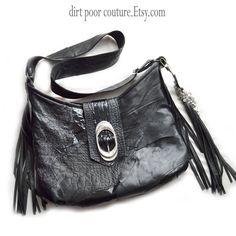 Black Leather Patchwork Fringe Boho Bag by DirtPoorCouture
