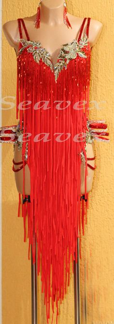 Competition Ballroom Latin Cha Cha Dance Dress US 8 UK 10 Sliver Red Fringing