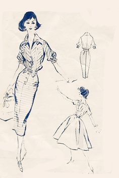 Vintage 60s MadMen Smokin Wiggle Dress Banded Cuffs Button Front Flared or Slim Skirt Sewing Pattern Modes Royale S-196 Size 16 B36 by sandritocat on Etsy
