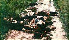 Dead bodies of innocent civilians could be found everywhere  Vietnam War-   my Lai Massacre- enitre village of men,women and children,executed by U.S. platoon