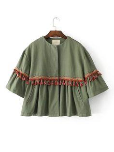 SheIn offers Tassel Detail Crop Jacket & more to fit your fashionable needs. Frock Fashion, Hijab Fashion, Fashion Dresses, Iranian Women Fashion, Muslim Fashion, Kids Lehenga Choli, Simple Pakistani Dresses, Designs For Dresses, Classic Skirts