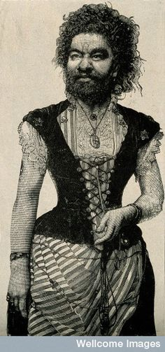 Julia Pastrana, a bearded lady. Reproduction of a wood engraving. c. 1860