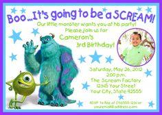 Monster Baby Shower Invitations | Monsters Inc Photo Birthday Invitation-YOU PRINT-