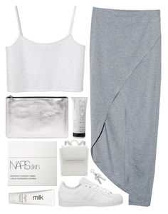 """""""b l e a k"""" by sleepy-seas ❤ liked on Polyvore featuring Finders Keepers, adidas, Monki, Alexander McQueen, St. Tropez, NARS Cosmetics and H2O+"""