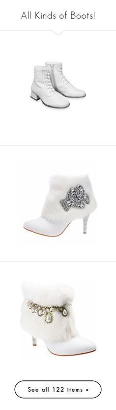 """All Kinds of Boots!"" by jewelsinthecrown ❤ liked on Polyvore featuring shoes, boots, ankle booties, heels, high heel booties, white leather boots, high heel boots, white boots, leather ankle boots and white fur boots"