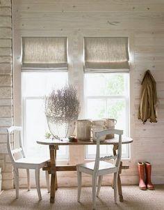 Льняные римские шторы в кухню