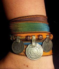 Oasis Boho Silk Wrap Bracelet w/Tribal Kuchi Coins, Gypsy, Kuchi Jewelry, Belly Dance, Yoga Bracelet, Blue Yellow Brown w/Copper Accents