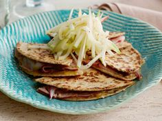Ham, Apple and Cheese Quesadilla  For a quick but filling meal, fill whole-wheat tortillas with low-sodium ham and Swiss cheese. Sliced appl...