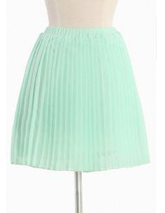 Mint Coloured Chiffon Pleated Skirt   Obaz.com