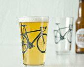 4 bike pint glasses, blue bicycle. 42.00, via Etsy.